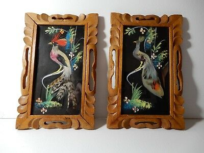 """2 -Vintage Mexican Feather Art Bird Pictures Hand Carved Wood Frame 8.5"""" x 5.5"""""""
