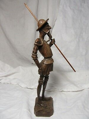 "Lot95 - Vintage Hand Carved DON QUIXOTE Wooden Figure Holding Spear - 10½"" High"