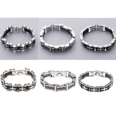 Men Stainless Steel Bracelet Black Silver Silicone Wristband Birthday Gifts
