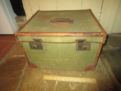 Antique WW1 era Officers Trunk / Small Leather edged Canvas Trunk with labels