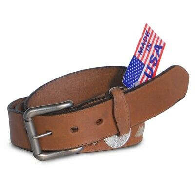 "R.G. BULLCO RGB-4576S 1-1/2"" Brown Rawhide Weave Leather Belt - Size 38"