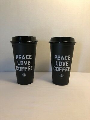 Set of 2 Starbucks Reusable PEACE LOVE COFFEE Black Coffee Cup 2018 RARE NEW