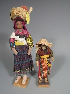 Pair Central America  Maya Peoples Style dress Dolls Ex. Newark Museum Coll.