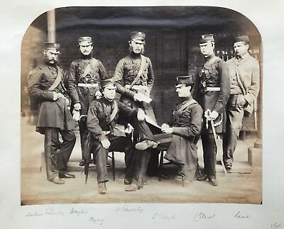 GRENADIER GUARDS: Seven ID'ed Officers Swords * VINTAGE 1860s Albumen Photograph
