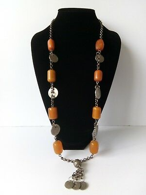 1920/30's Middle Eastern Faturan Amber Bakelite & Pressed Amber Necklace