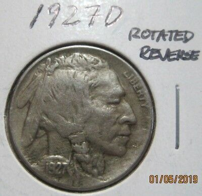 1927D VF-XF ERROR ROTATED DIES BUFFALO NICKEL BN2070  3 or more FREE SHIPPING