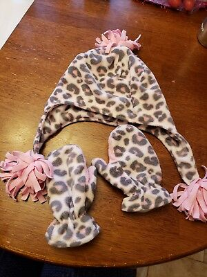 Girl 2T-4T Fleece Pink Cheetah Pom Pom Hat with mittens Jumping Beans