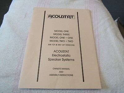 ACOUSTAT MODELS one/three/one+one/two+two/mk121/141 ORIGINAL OWNER'S MANUAL ONLY