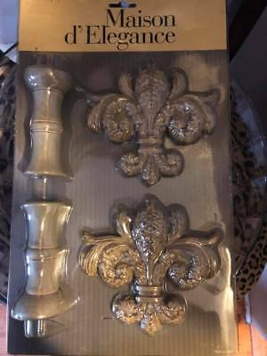 "NEW Gorgeous European 6"" Fleur-de-Lis Pair Drapery Tie Backs Patina Resin/Wood"