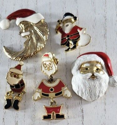 Christmas Brooch Pin Pendant Lot of Santa Claus Enamel signed Phister Gold Tone