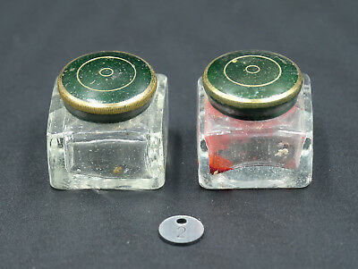 Pair of Old Writing Slope Glass Inkwells - Original Condition