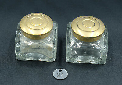 Pair of Old Writing Slope Glass Inkwells - Good Condition