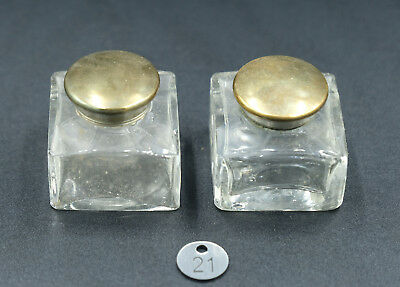 Pair of Original Writing Slope Glass Inkwells - Good Condition