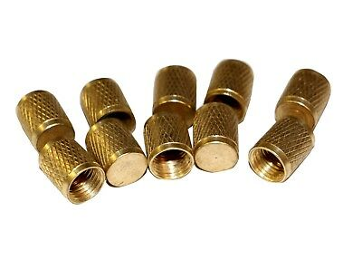 "R12 R22 R502 Brass 1/4"" Service Port Caps Gnarled Head 10 Pack #3409"
