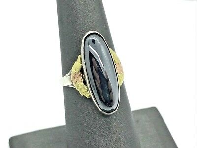 Antique Art Nouveau Sterling Silver 14K Flower Accented Hematite Ring 4.7g (YN)