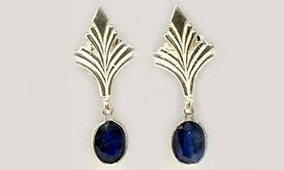 Antique 19thC Sapphire Celtic Roman Greek Sorcery Sterling Dangle Earrings