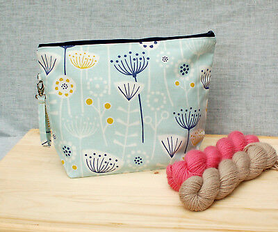 Crochet project bag, crochet, crafting, extra large, gift for knitters, flower
