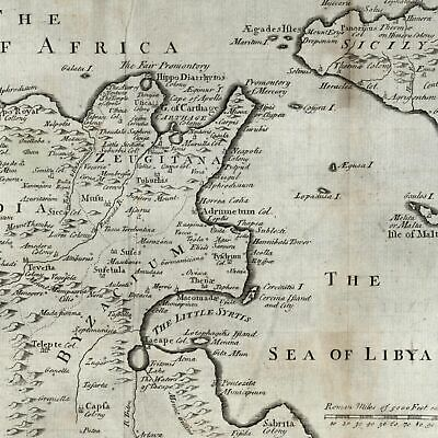 Northern Africa Tunisia Sicily c.1790 Sea of Libya engraved old map