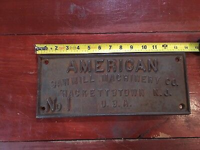 Vintage American Sawmill,machinery Co Cast Iron Plaque