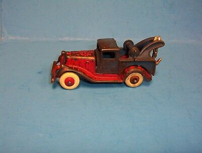 Vintage 1930's Hubley Toy Cast Iron Tow Truck Take Apart Red & Blue
