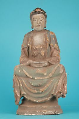 Antique Chinese Wood Statue Bodhisattva Spiritually-Carved Hand Old Collec Old