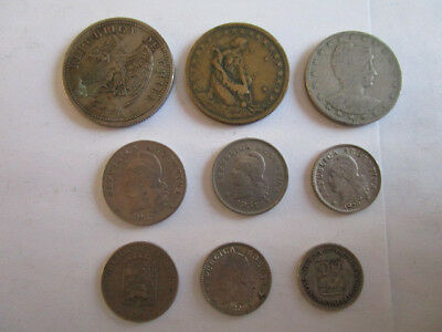 Lot Of South American Coins - BRAZIL,CHILE,ARGENTINA & VENEZUELA - 1 SILVER COIN