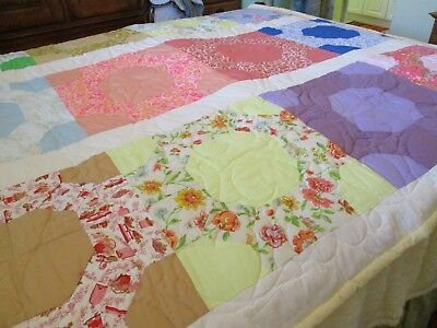 vintage handmade quilt 74 X 68 hand and machine stitched  new never used