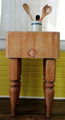 Wood Welded Michigan Maple Co. Antique Chopping Butcher Block Table