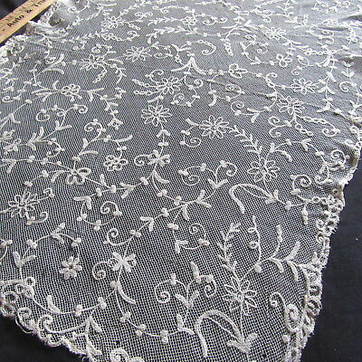 Antique Tambour Embroidered Lace Wide LG panel French Flower Trim Dolls Bears