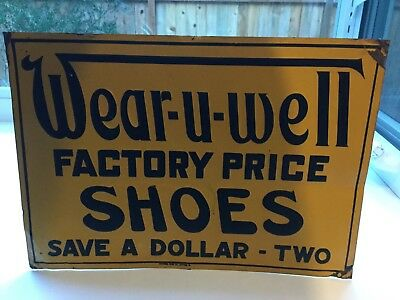 Vintage Wear U Well Shoes Advertising Sign