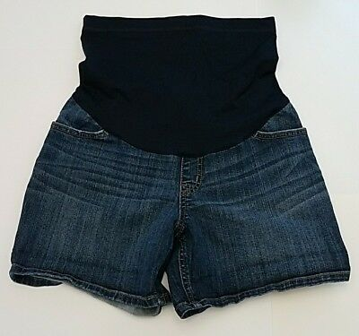 Liz Lange Maternity Womens Shorts Jean Size Small Dark Wash Full Belly Panel