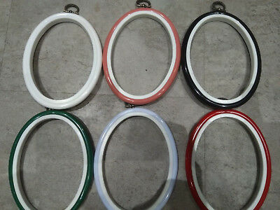"""Oval Flexi Hoop 4 x 5.5"""" Pack of 6 Assorted Colours"""