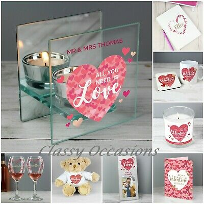 Personalised Valentines Gifts Love Heart Photo Frame Wine Glass set Teddy Bear