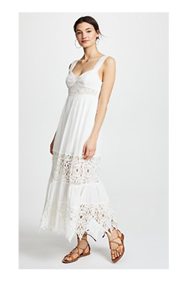 158bd53056bc NEW FREE PEOPLE White Crochet Lace Caught Your Eye Empire Midi Maxi Dress  Size 0
