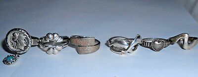 LOT of 6 Sterling Silver Rings, Dolphin, Heart, Roman Glass, 24.4 grams
