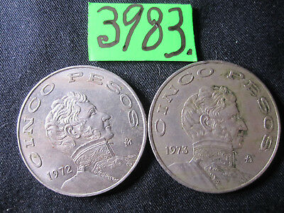 2 x  5 Pesos 1972+1973 COINS  Mar3983 from MEXICO   16 gms