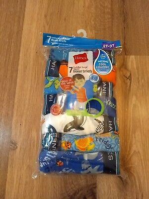 NEW Hanes 2-3T Boxer Briefs Days of Week 7 Pack Toddler Boys