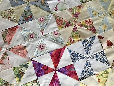 """42 Floral Pinwheel Quilt Blocks~New Floral 8.5"""" Cotton-All Different-New-Trimmed"""