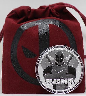Deadpool 2018 Coin 1 Oz Silver 9999 Ag Tuvalu $1 Pouch - Marvel Comics