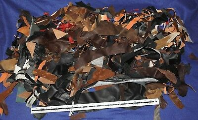 Soft leather small offcuts craft art mixed colours scrap remnants pieces 1.3kg