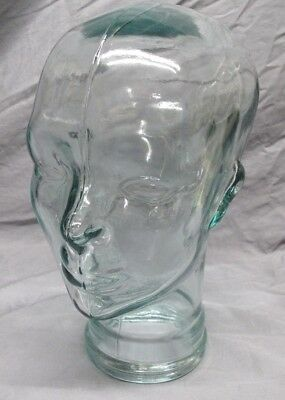 Glass Mannequin Head Face Display Clear Life Size Hand Made