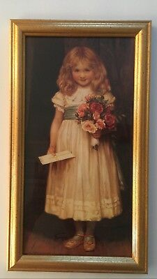"Home Interiors THE LOVE LETTER Girl, Letter, Flowers Gold Frame Picture 15"" NEW"