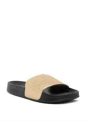finest selection ef0fe 6eed9 Womens Puma Leadcat GoldBlk Leather Slides Slip-on 365693 04