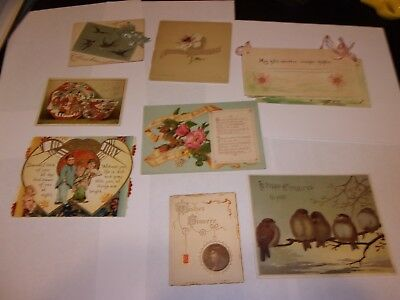 8 antique, Victorian, Holiday & Greeting Cards, some from 1800s