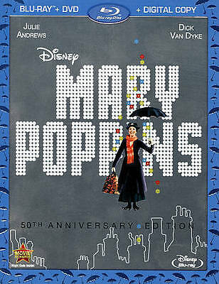 Mary Poppins (Blu-ray/DVD, 2013, 2-Disc Set, 50th Anniversary NO DIGITAL COPY