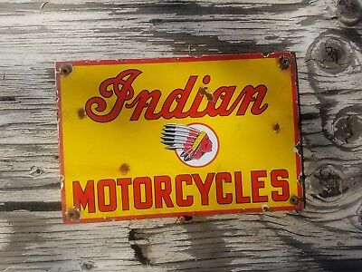 """Indian motorcycle ""8x10""  Vintage Steel Porcelain Advertising sign."