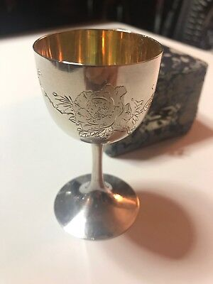 Sterling Silver Antique Engraved Wine Goblet with Original Case