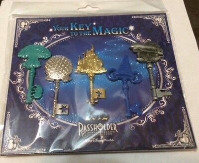 Disney Trading Pins Lot of 5 New KEY TO THE MAGIC PASSHOLDER Disney World (DPS3)