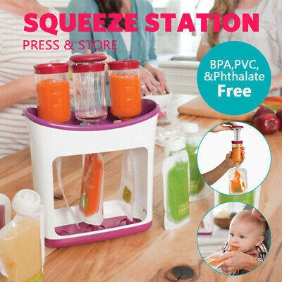 BABY Food Feeding Squeeze Station|Toddler Fruit Maker|Infant Dispenser Storage