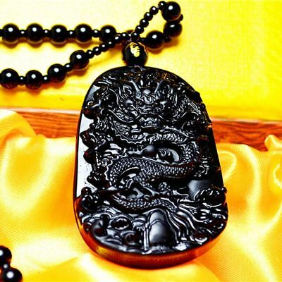 Jewelry Blessing Lucky Black Natural Carving Necklace Dragon Pendant Obsidian